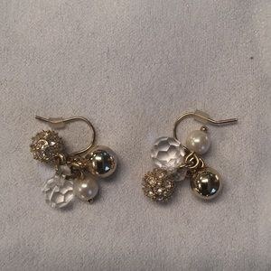 Jcrew gold, crystal and pearl earrings